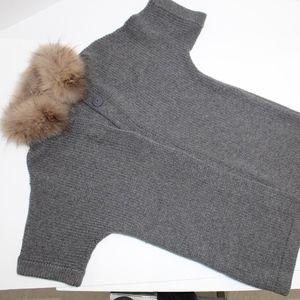 CH Carolina Herrera Gray Raccoon Fur Trim Sweater